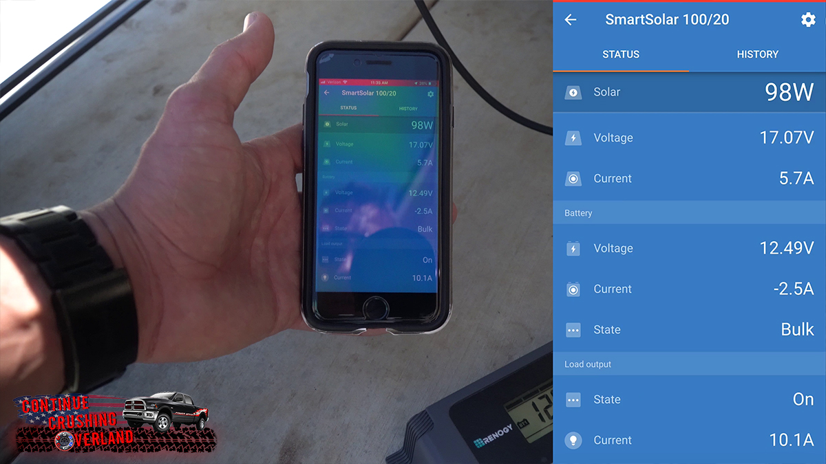 victron smartsolar 100 20 solar charge controller screenshot continue crushing overland