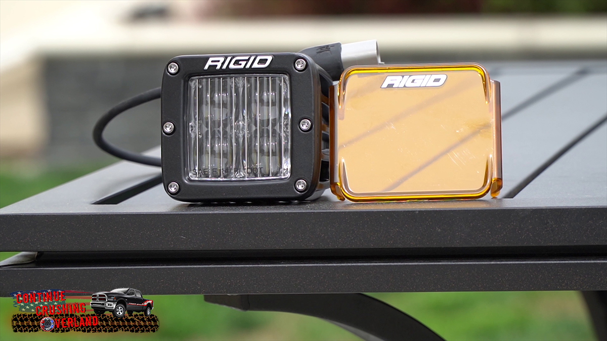 rigid sae fog light with amber cover continue crushing overland